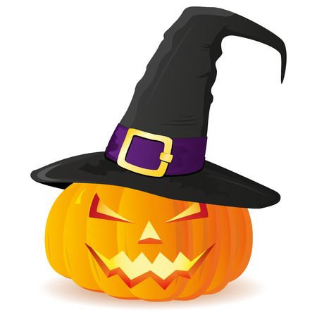 witch face: Jack-O-Lantern. Halloween pumpkin with witches hat isolated on white background
