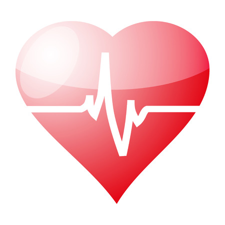 Red heart with cardiogram isolated on white background, vector illustration Vector