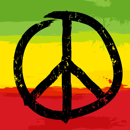 Peace symbol and rastafarian colors in background, vector illustration