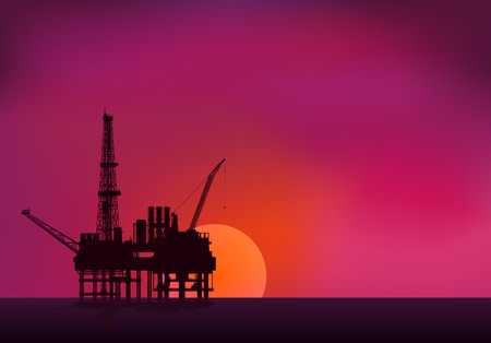 construction plant: Illustration of oil platform on sea and sunset in background