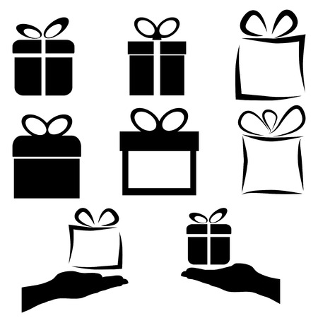 giving gift: black gift icon set on white background, vector illustration Illustration