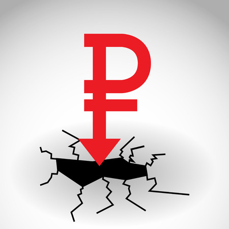 embargo: Concept of ruble down, vector illustration