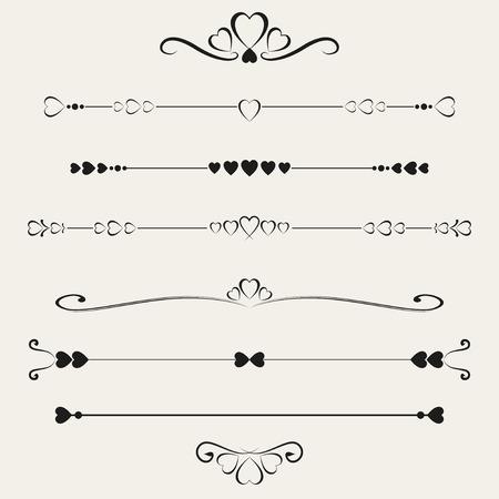 bordure de page: Ensemble d'�l�ments de valentine, illustration vectorielle Illustration
