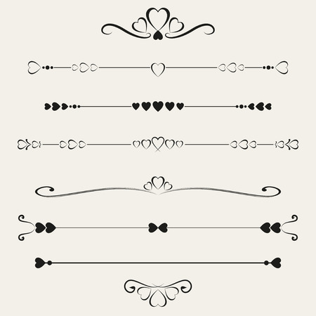 calligraphic: Set of valentine elements, vector illustration