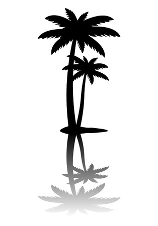 palmetto: Palm tree icon isolated on white background, vector illustration