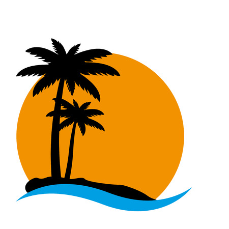 trees silhouette: Sunset and palm trees on island, vector illustration