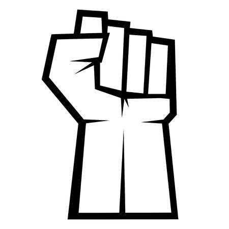 puÑos: Concepto de Revolución. Puño arriba aislado en el fondo blanco, ilustración vectorial