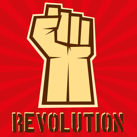 Concept of revolution. Fist up on red background, vector illustration Illustration
