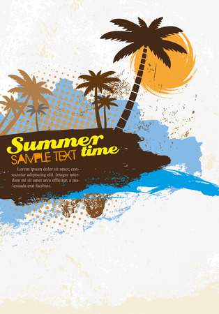summer beach party: Grunge background with palm trees, vector illustration Illustration