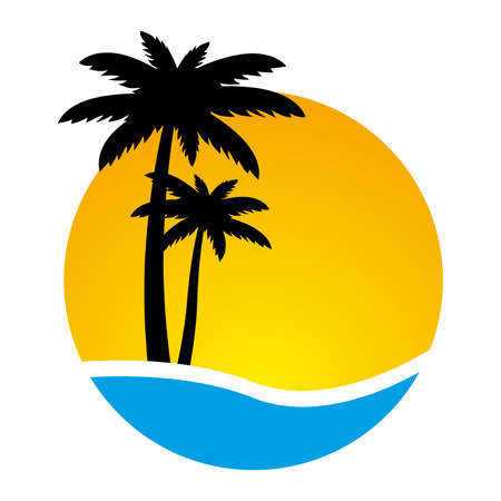 sunny beach: Sunset and palm trees on island, vector illustration