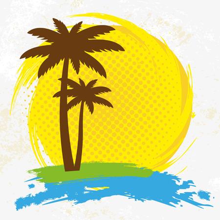 logo voyage: Grunge background avec des palmiers, illustration vectorielle