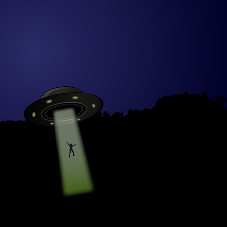 abducted: Flying saucer arrived at night, vector illustration