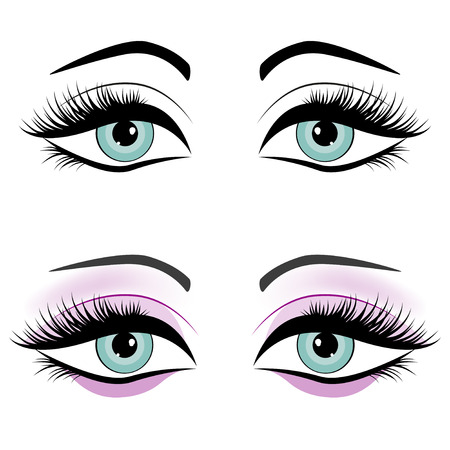 open eye: Set of female eyes isolated on white background, vector illustration