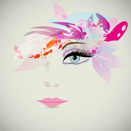 maquillaje de fantasia: Cara de la mujer con elementos de diseño, concepto de moda. Ilustración vectorial