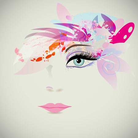 face make up: Woman face with design elements, fashion concept. Vector illustration