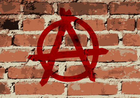 anarchy: Anarchy sign on brick wall texture, vector illustration