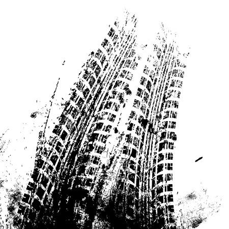 huellas de llantas: Fondo con la pista grunge neum�tico negro, ilustraci�n vectorial Vectores