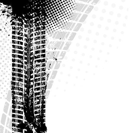 Sfondo con pista grunge pneumatico nero, illustrazione vettoriale Archivio Fotografico - 37046321