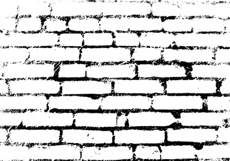 Old vintage brick wall. Background, pattern black and white. Vector illustration