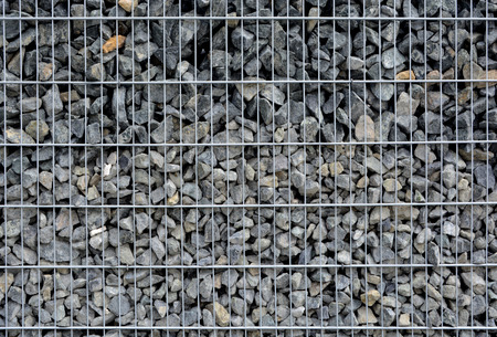 gabion: Pattern of Gabion wire with many rocks inside