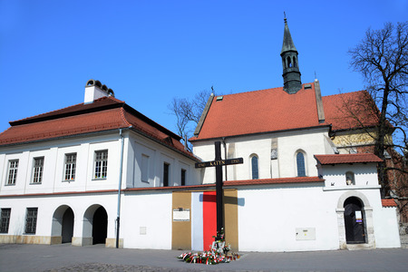 commemorating: KRAKOW, POLAND - APRIL 11, 2015: Cross of Katyn placed on the square in front of the church St. Giles  in Krakow, Poland