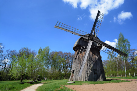 lubelskie: LUBLIN, POLAND - APRIL 27: Windmill in the open-air museum of lubelskie district on april 27, 2015 in Lublin, Poland.