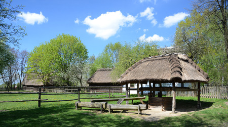 lubelskie: LUBLIN, POLAND - APRIL 27: Old water well in the open-air museum of lubelskie district on april 27, 2015 in Lublin, Poland.