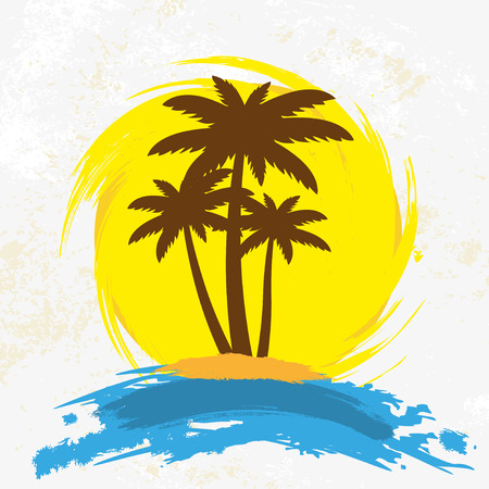 Grunge background with palm trees, vector illustration  イラスト・ベクター素材