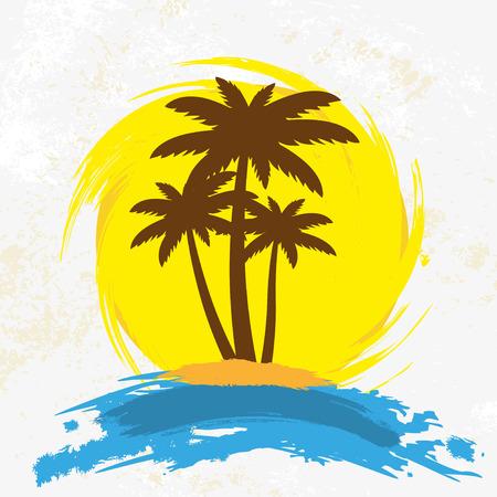 palmeras: Fondo de Grunge con palmeras, ilustración vectorial