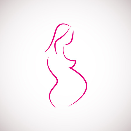 Symbol of pregnant woman isolated on white background, vector illustration
