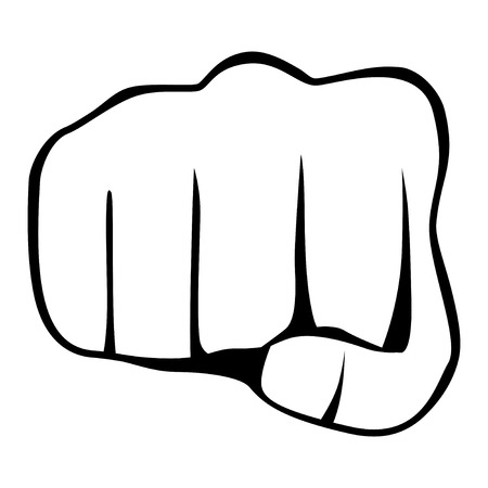 revolt: Fist isolated on white background, vector illustration