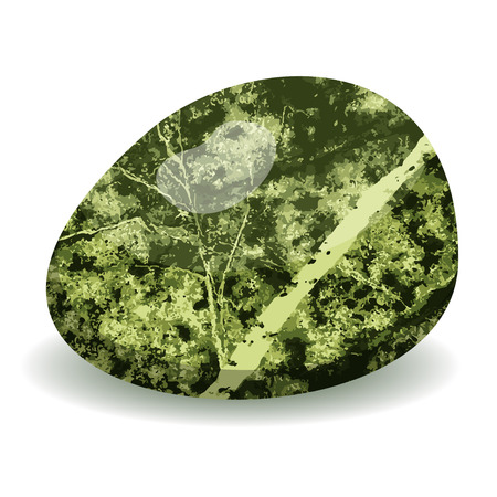 Pebble Beach: Green vector stone isolated on white background, vector illustration
