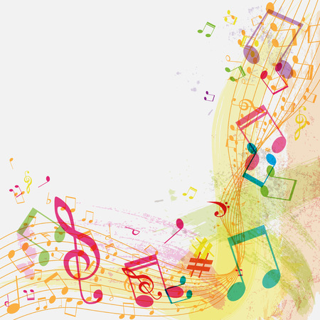 Abstract grunge music background with notes, vector illustration Illustration