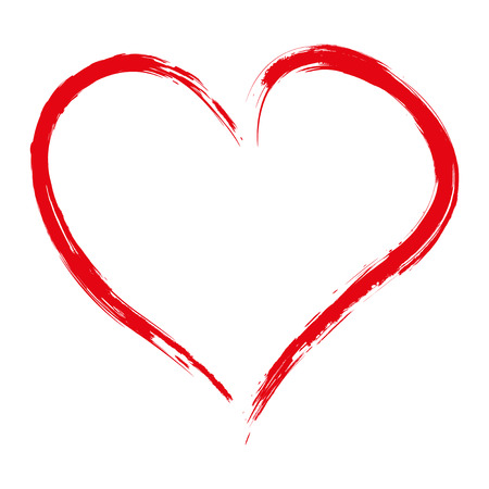 painted background: Hand drawn red heart isolated on white background, vector illustration