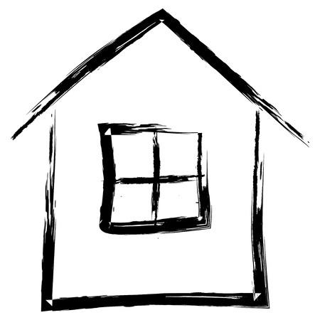 Eenvoudige hand getekende huis geïsoleerd op een witte achtergrond, vector illustratie