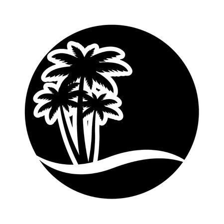 Zonsondergang en palmbomen op eiland, vector illustratie