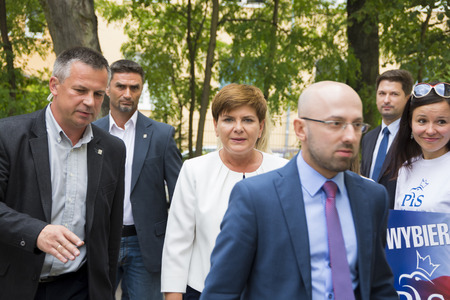 SWIDNIK, POLAND - AUGUST 21, 2015: Beata Szydlo during parliamentary election campaign, candidate for Prime Minister meets with electorate Publikacyjne