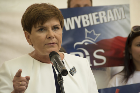 electorate: SWIDNIK, POLAND - AUGUST 21, 2015: Beata Szydlo during parliamentary election campaign, candidate for Prime Minister meets with electorate Editorial
