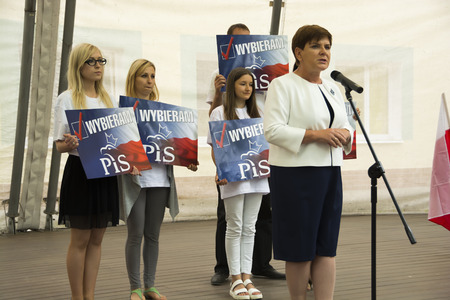 SWIDNIK, POLAND - AUGUST 21, 2015: Beata Szydlo during parliamentary election campaign, candidate for Prime Minister meets with electorate Редакционное