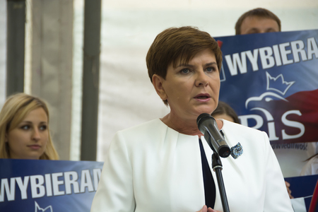 parliamentary: SWIDNIK, POLAND - AUGUST 21, 2015: Beata Szydlo during parliamentary election campaign, candidate for Prime Minister meets with electorate Editorial