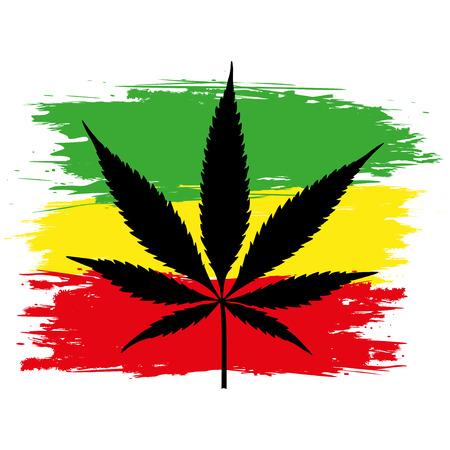 reggae: Feuille de cannabis (marijuana) et le drapeau de l'Ethiopie isolé sur blanc. Vector illustration. Illustration