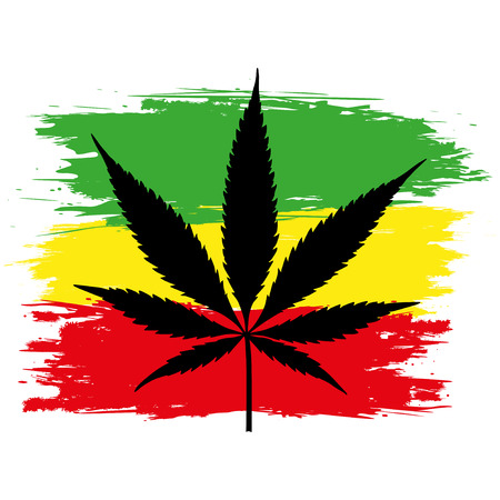thc: Leaf of cannabis (marijuana) and flag of Ethiopia isolated on white. Vector illustration.