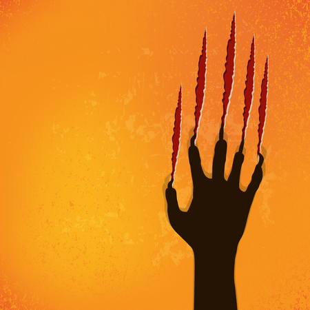hand with card: abstract halloween background, vector illustration