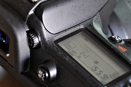 macro: Macro of professional digital camera. Stock Photo