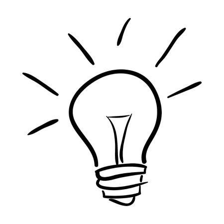 Hand drawn bulb isolated on white background, vector illustration 일러스트