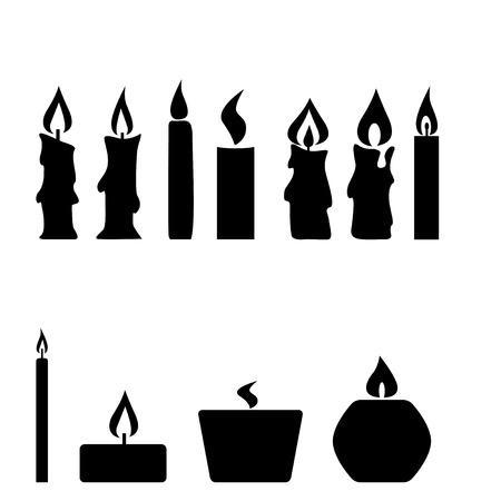 velas de navidad: Conjunto de velas aisladas sobre fondo blanco, ilustraci�n vectorial Vectores