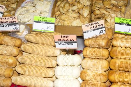 oscypek: Various kinds of traditional polish smoked cheese oscypek