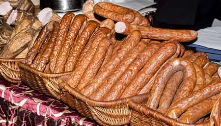 processed food: Various types of traditional sausages in baskets