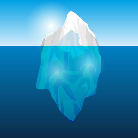 Ijsberg in de oceaan, vector illustratie Stock Illustratie