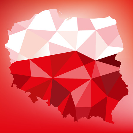 White and red background with shape of Poland in geometric,mosaic polygonal style.Vector illustration Illustration